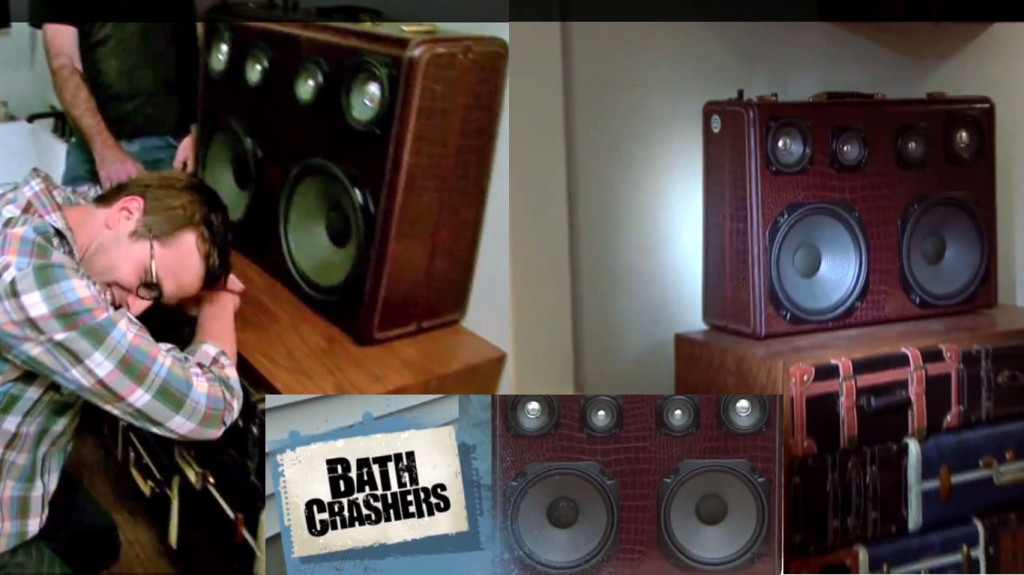Bath Crashers BoomBox Vintage Suitcase BoomCase DIY Network matt muenster Bathroom Shower Remodel Awesome