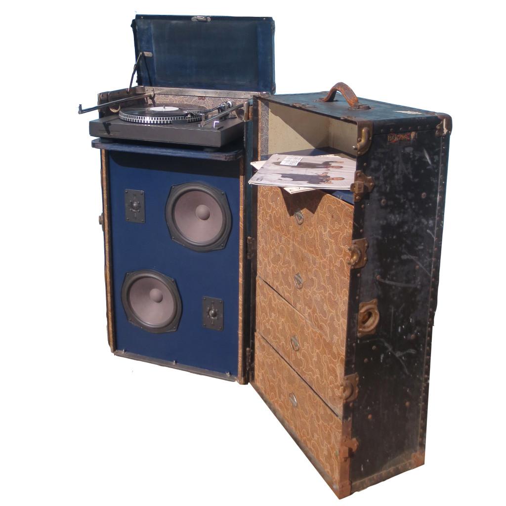 Vintage Trunk Sound System BoomCase Steam Trunk Outdoor Speaker Bluetooth Black Hartmann Hot Italian Sacramento